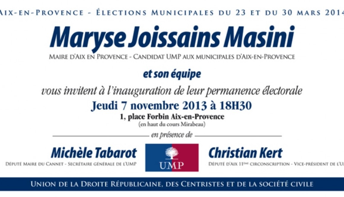 7/11: invitation inauguration permanence de Maryse Joissains